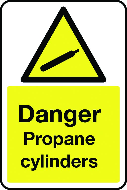 Danger propane cylinders sign