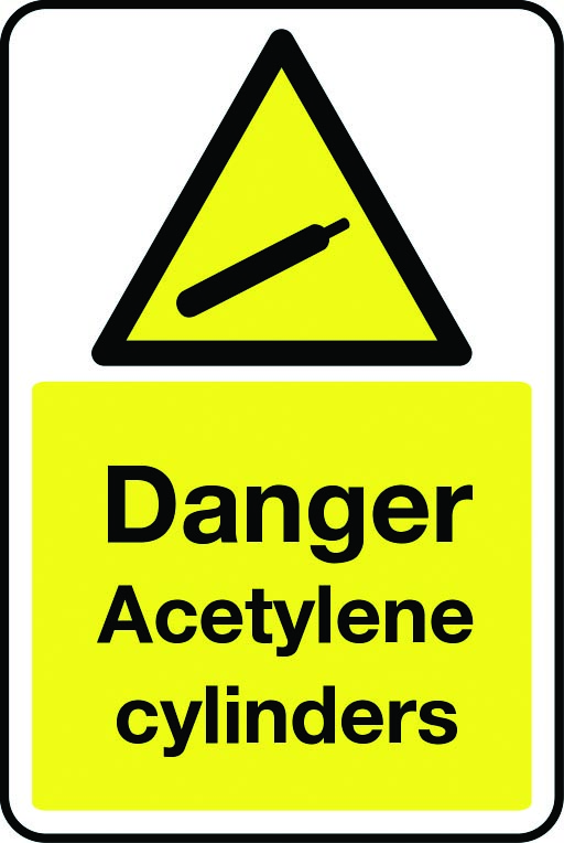 Danger acetylene cylinders sign