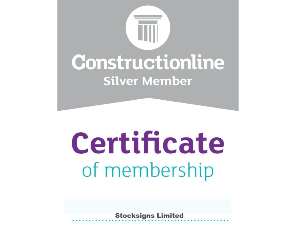 Stocksigns Constructionline Silver Member Certificate