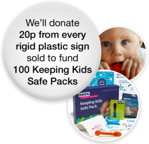 Stocksigns donating to RoSPA for 100 Keeping Kids Safe Packs