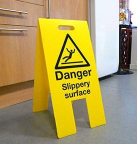 Danger Slippery Surface A Board Sign