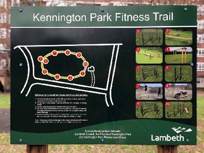 Kennington Park Fitness Trail Outdoor Park Sign