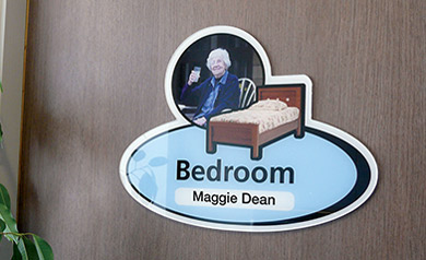 Pictorial sign for dementia and care homes bedroom sign