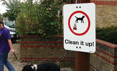 Clean It Up dog waste sign