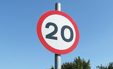 20mph road traffic management sign
