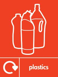05783 Plastic Recycling Plastic bottles sign available in rigid plastic and self adhesive vinyl. Signs and symbols encourage recycling