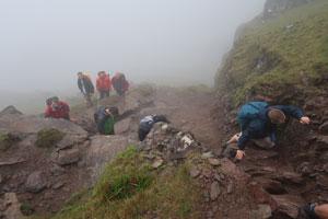 Dingle Dash Challenge Day 1 climb clouds rocks