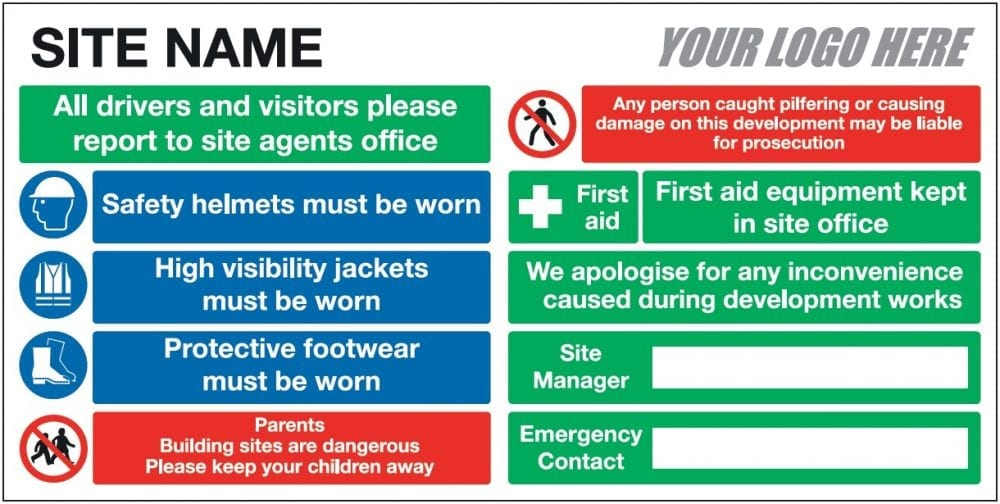 EE10214 Site Name Safety Board from Stocksigns Landscape
