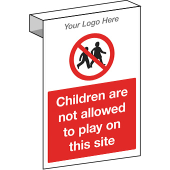 EE20113 Scaffolding children are not allowed to play on this site. Construction site sign.