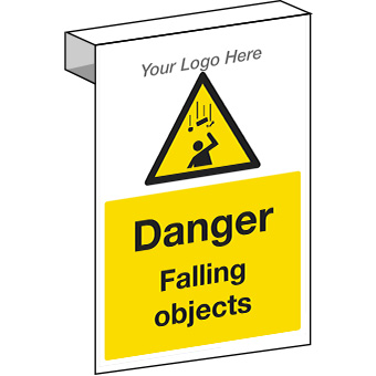 EE20121 Scaffolding. Danger falling objects sign for construction sites.