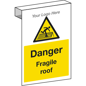 EE20123 Scaffolding Danger fragile roof. Construction sign