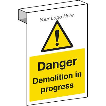 EE20125 Scaffolding. Danger demolition in progress construction sign.