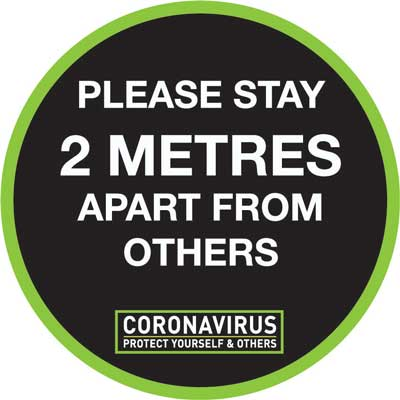 604554-T Please stay 2 metres apart from others coronavirus sign from Stocksigns Ltd