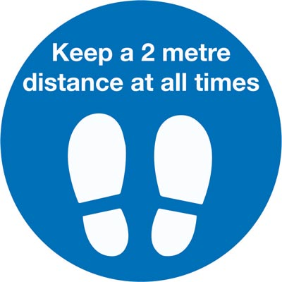 604558-T Keep a 2 metres distance at all times blue and white floor vinyl sign from stocksigns Ltd
