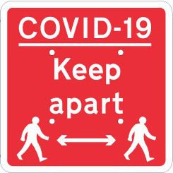 4706 COVID-19 Temporary Traffic Sign Keep apart with symbols from Stocksigns Ltd safety signs