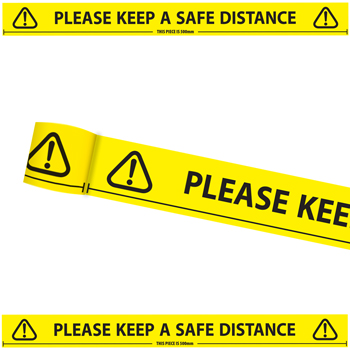 4740 Please keep a safe distance tape 66metre from Stocksigns Ltd