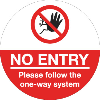 604735 NO ENTRY Please follow the one-way stystem floor signage for social distancing COVID-19