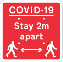 704706 COVID 19 square stay 2m apart from Stocksigns Ltd safety sign supplier