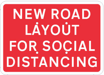 704710 COVID-19 New road layout for social distancing from Stocksigns Ltd Safety sign supplier