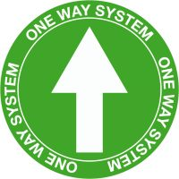 4568 Arrow One Way System Green floor Vinyl signage for coronavirus COVID-19 from Stocksigns Ltd