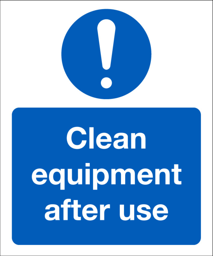 104689JK Clean equipment after use COVID-19