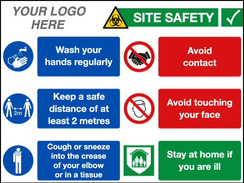 EE90212 Site Safety Coronavirus Site Board for Construction from Stocksigns Ltd 600 x 400mm