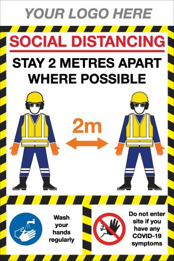 EE90226 Social Distancing construction board covid-19 sign