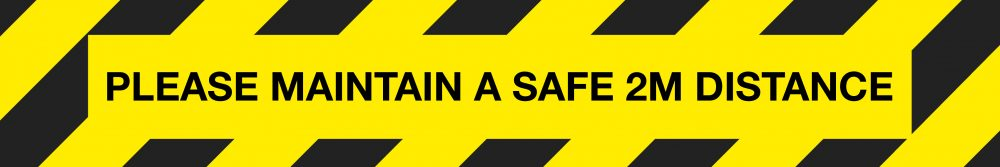 604722 Please maintain a safe 2m distance black and yellow hazard floor vinyl signage