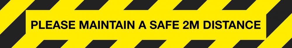 604722 Please maintain a safe 2m distance black and yellow hazard floor vinyl signage