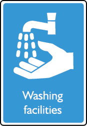 Washing facilities sign.