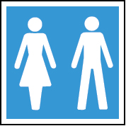 Female and male image sign for washrooms.