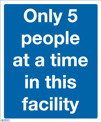 Only 5 people at a time COVID-19 Sign