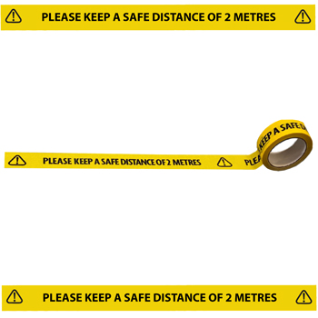 604810 Please keep a safe distance of 2 metres floor tape covid-19 from stocksigns Ltd