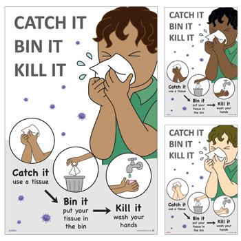 children's catch it bin it kill it signs for COVID-19 and coronavirus school signs