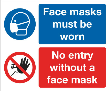4860 Face masks must be worn, No entry without a face mask sign