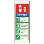 powder fire extinguisher sign