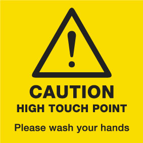 3015008DD Caution High Touch Point please wash your hands COVID-19 sticker for handles from Stocksigns safety signs