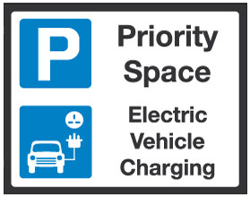 Priority Space Electric Car Charging sign