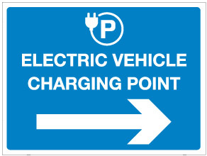 Electric vehicle charging point with arrow right