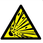 explosive hazard safety sign