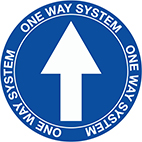 COVID one way floor signs from Stocksigns ltd safety sign manufacturer