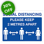 Social distancing COVID sign 30% off sale